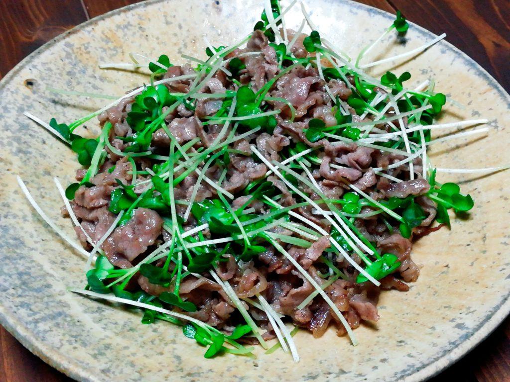 kaiware gyuniku - ピリっとした辛さが癖になる。カイワレと牛肉の炒めもの