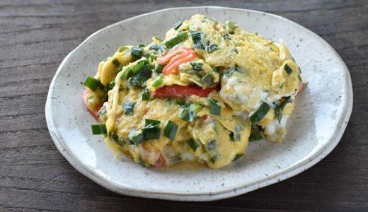 【ニラ醤油】 卵とカニカマのふんわり炒め